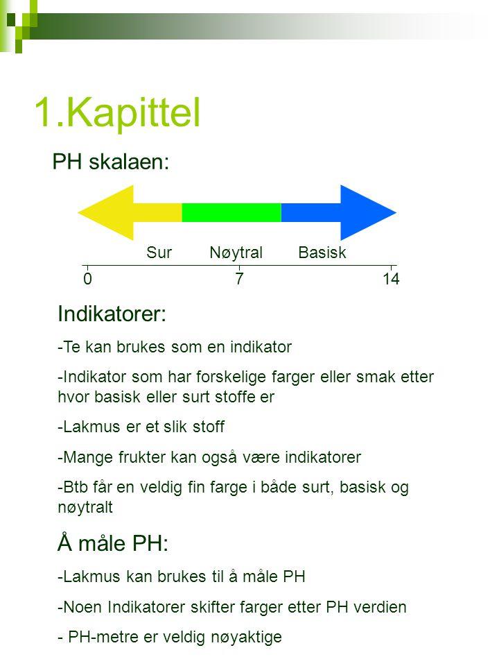 1.Kapittel 0714 SurBasiskNøytral PH skalaen: Indikatorer: -Te kan brukes som en indikator -Indikator som har forskelige farger eller smak etter hvor basisk eller surt stoffe er -Lakmus er et slik stoff -Mange frukter kan også være indikatorer -Btb får en veldig fin farge i både surt, basisk og nøytralt Å måle PH: -Lakmus kan brukes til å måle PH -Noen Indikatorer skifter farger etter PH verdien - PH-metre er veldig nøyaktige