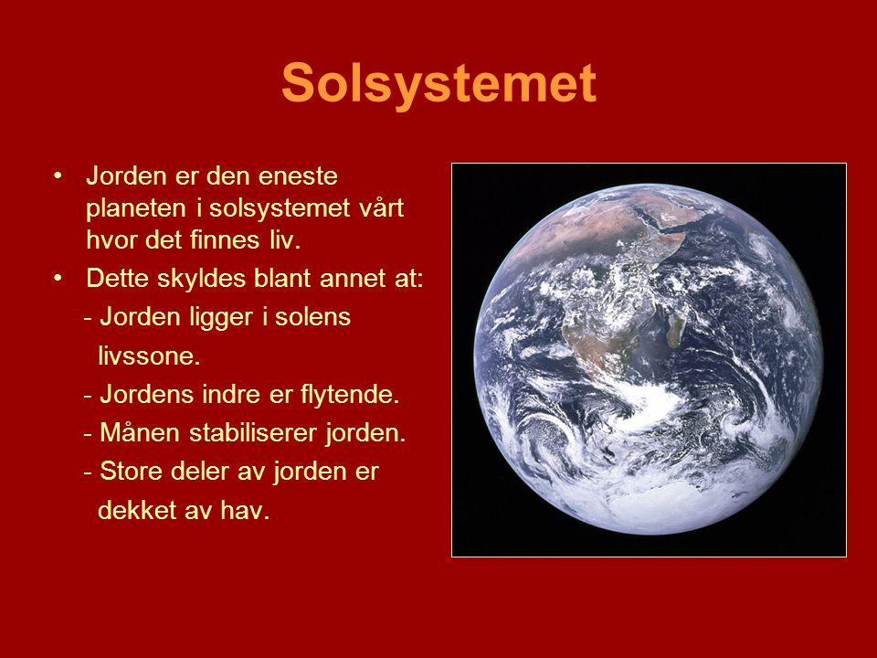 Solsystemet •Jorden er den eneste planeten i solsystemet vårt hvor det finnes liv. •Dette skyldes blant annet at: - Jorden ligger i solens livssone. -