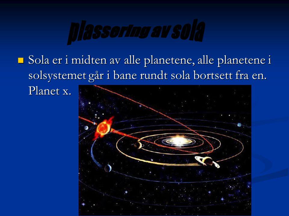  Sola er i midten av alle planetene, alle planetene i solsystemet går i bane rundt sola bortsett fra en. Planet x.