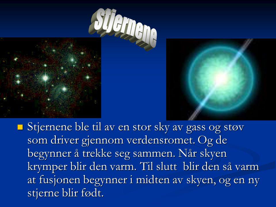  Stjernene ble til av en stor sky av gass og støv som driver gjennom verdensromet. Og de begynner å trekke seg sammen. Når skyen krymper blir den var