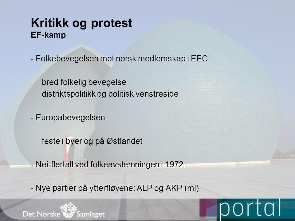 EF-kamp - Folkebevegelsen mot norsk medlemskap i EEC: bred folkelig bevegelse distriktspolitikk og politisk venstreside - Europabevegelsen: feste i by