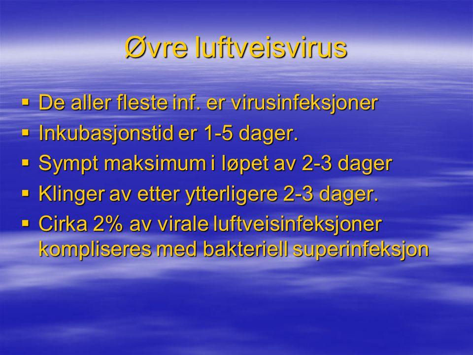 Øvre luftveisvirus  De aller fleste inf.er virusinfeksjoner  Inkubasjonstid er 1-5 dager.