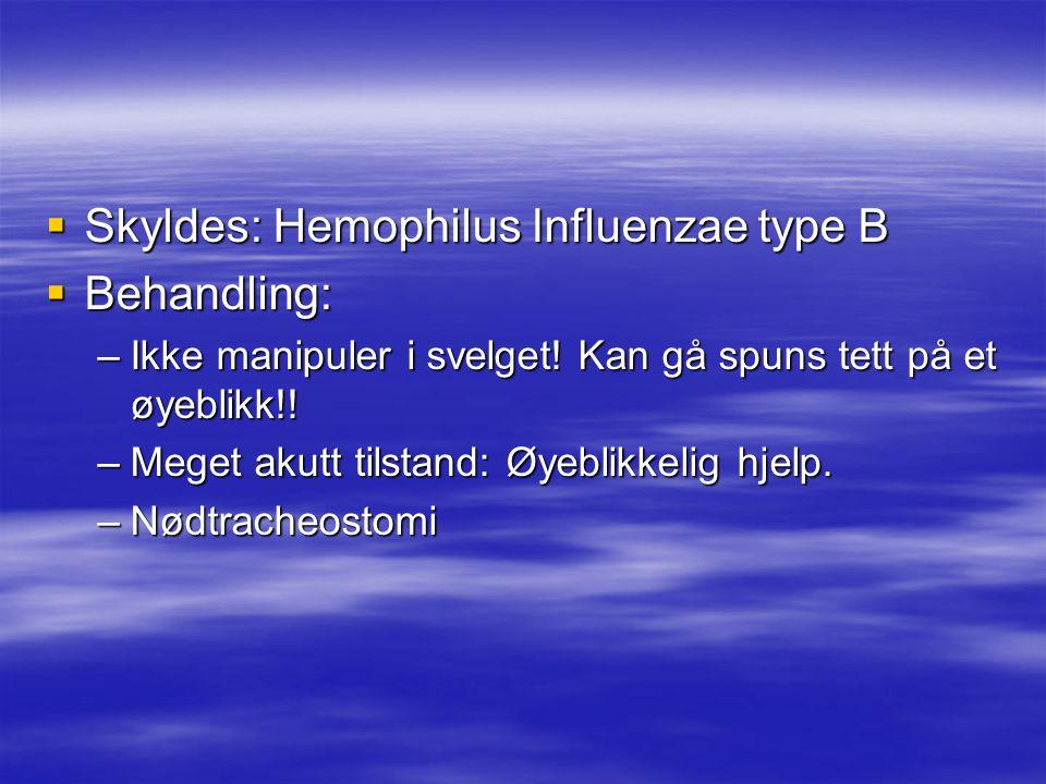  Skyldes: Hemophilus Influenzae type B  Behandling: –Ikke manipuler i svelget.