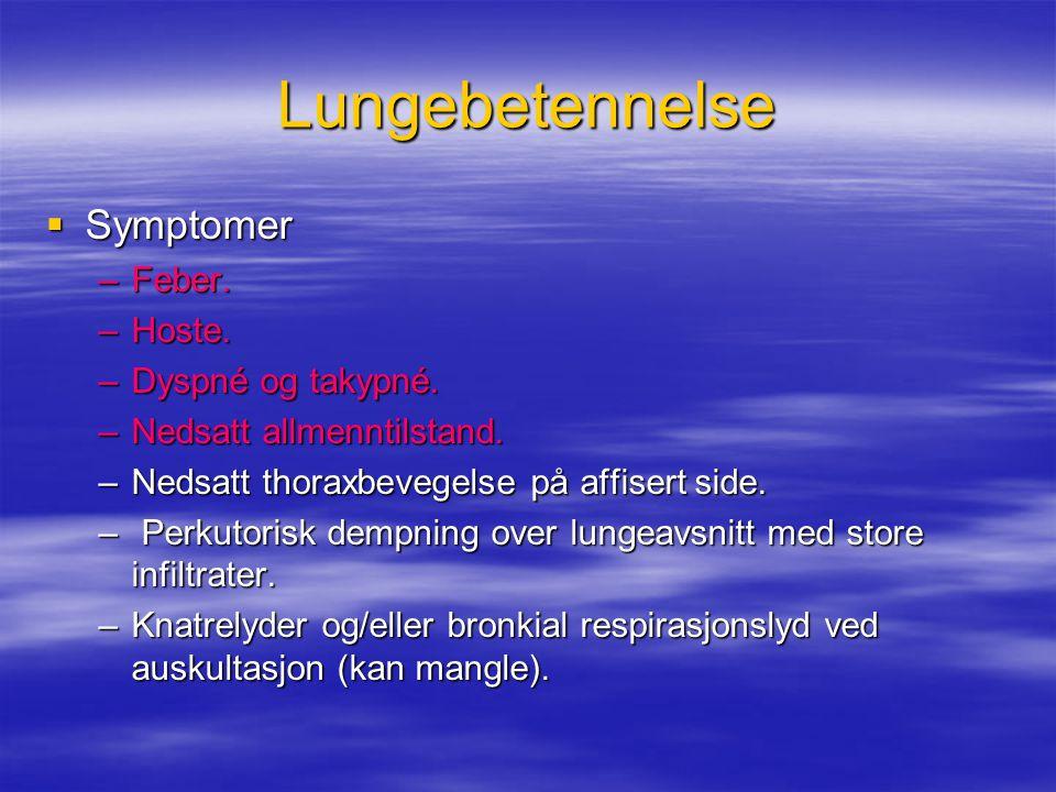 Lungebetennelse  Symptomer –Feber.–Hoste. –Dyspné og takypné.