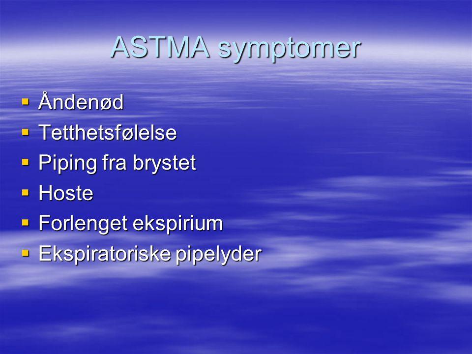 ASTMA symptomer  Åndenød  Tetthetsfølelse  Piping fra brystet  Hoste  Forlenget ekspirium  Ekspiratoriske pipelyder