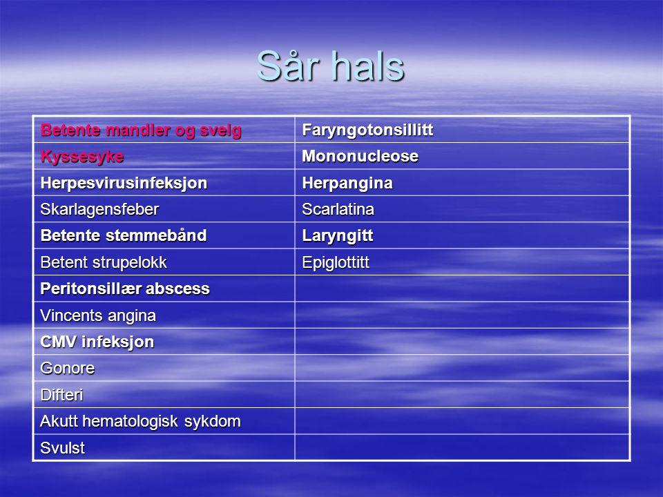 Halsesyke (betente mandler)  70% skyldes virus  30% skyldes bakterier –Streptokokker gruppe A (GAS) –Kan sees som del av andre sykd.bilder  GAS –Ingen hoste –Temperatur over 38,5 –Hovne og ømme lymfeknuter under kjevevinkelen –Intenst røde, hovne mandler, som regel med pussbelegg
