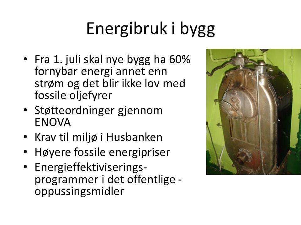 Energibruk i bygg • Fra 1. juli skal nye bygg ha 60% fornybar energi annet enn strøm og det blir ikke lov med fossile oljefyrer • Støtteordninger gjen