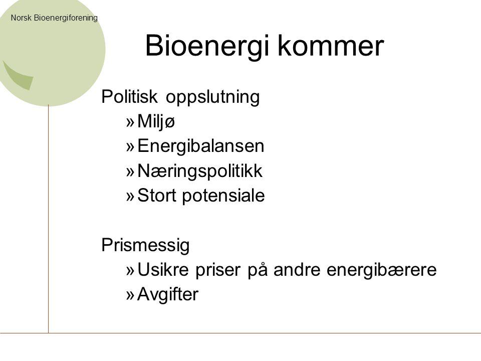 Norsk Bioenergiforening Bioenergi kommer Politisk oppslutning »Miljø »Energibalansen »Næringspolitikk »Stort potensiale Prismessig »Usikre priser på a