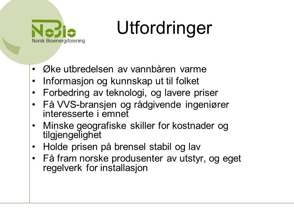 Norsk Bioenergiforening Utfordringer •Øke utbredelsen av vannbåren varme •Informasjon og kunnskap ut til folket •Forbedring av teknologi, og lavere pr