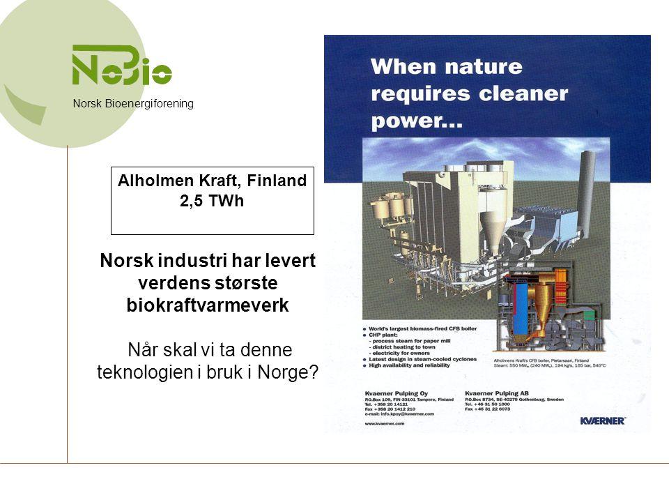 Norsk industri har levert verdens største biokraftvarmeverk Når skal vi ta denne teknologien i bruk i Norge? Norsk Bioenergiforening Alholmen Kraft, F