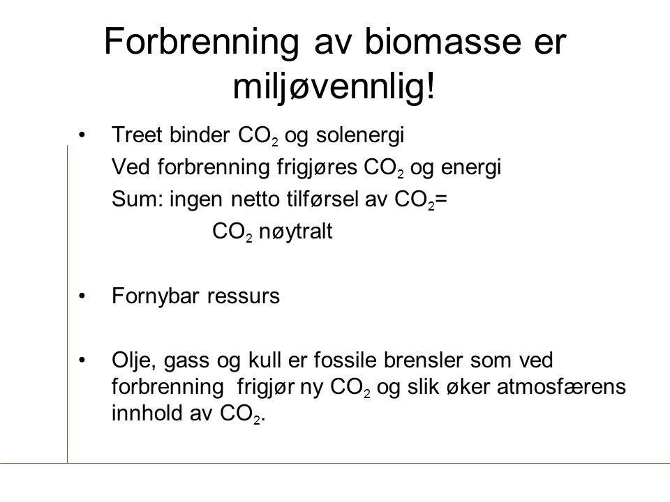 Forbrenning av biomasse er miljøvennlig! •Treet binder CO 2 og solenergi Ved forbrenning frigjøres CO 2 og energi Sum: ingen netto tilførsel av CO 2 =