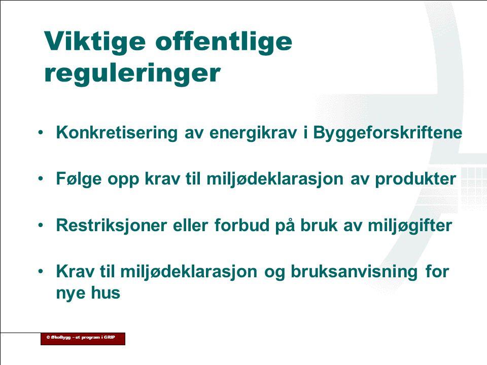Viktige offentlige reguleringer •Konkretisering av energikrav i Byggeforskriftene •Følge opp krav til miljødeklarasjon av produkter •Restriksjoner ell