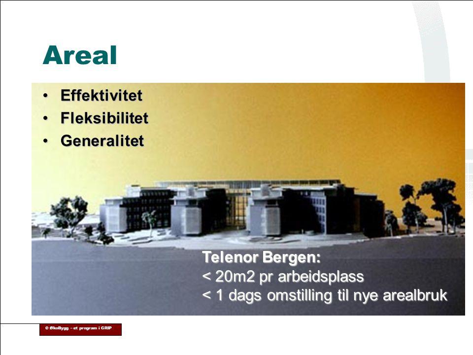 © ØkoBygg – et program i GRIP •Effektivitet •Fleksibilitet •Generalitet Telenor Bergen: < 20m2 pr arbeidsplass < 1 dags omstilling til nye arealbruk A