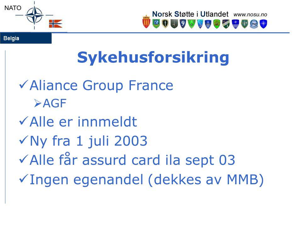 Sykehusforsikring  Aliance Group France  AGF  Alle er innmeldt  Ny fra 1 juli 2003  Alle får assurd card ila sept 03  Ingen egenandel (dekkes av MMB)