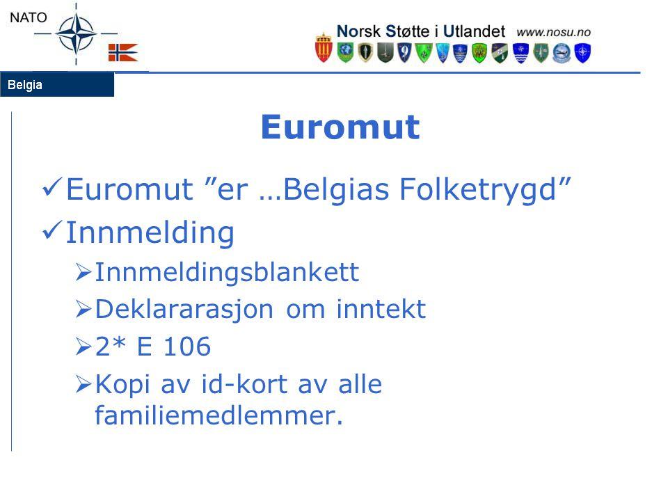 Euromut  Euromut er …Belgias Folketrygd  Innmelding  Innmeldingsblankett  Deklararasjon om inntekt  2* E 106  Kopi av id-kort av alle familiemedlemmer.