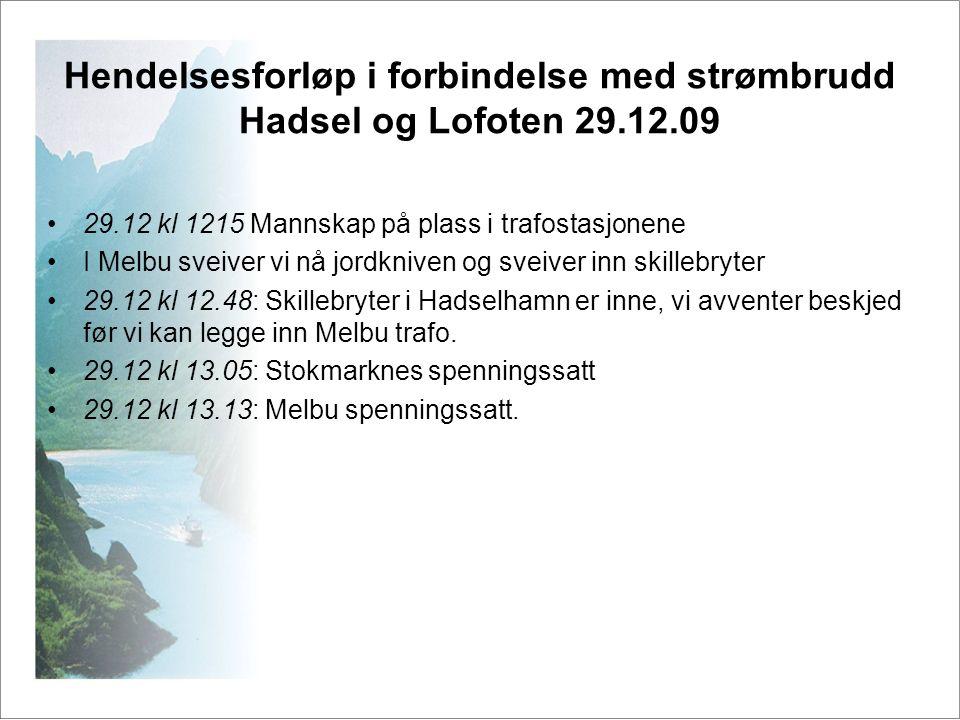 Hendelsesforløp i forbindelse med strømbrudd Hadsel og Lofoten 29.12.09 •29.12 kl 1215 Mannskap på plass i trafostasjonene •I Melbu sveiver vi nå jord