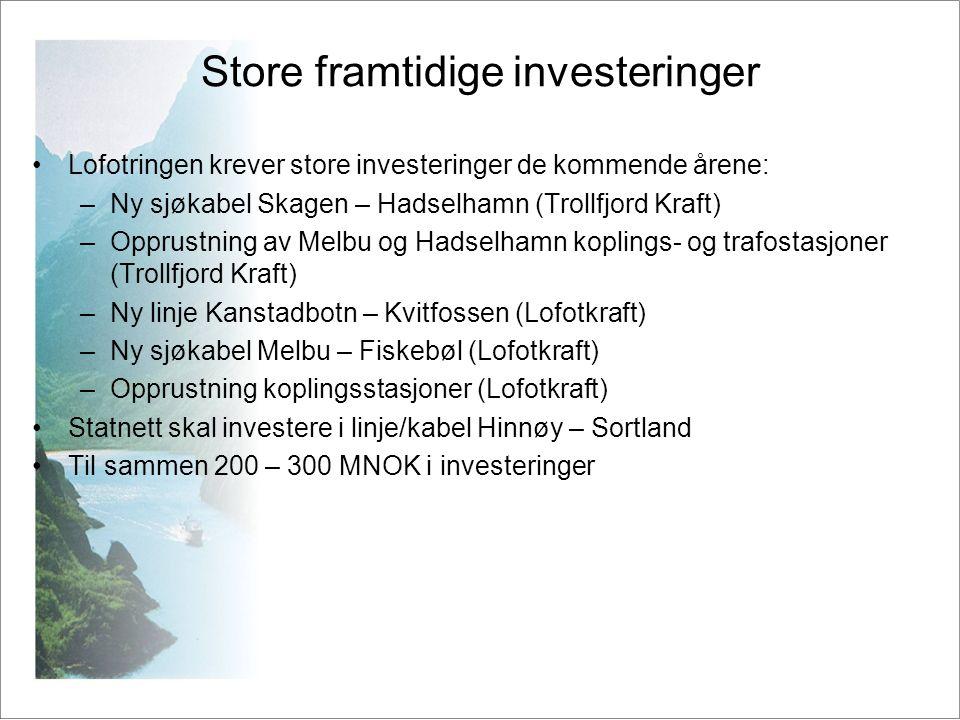 Store framtidige investeringer •Lofotringen krever store investeringer de kommende årene: –Ny sjøkabel Skagen – Hadselhamn (Trollfjord Kraft) –Opprust