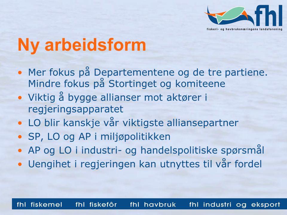 Ny arbeidsform •Mer fokus på Departementene og de tre partiene.