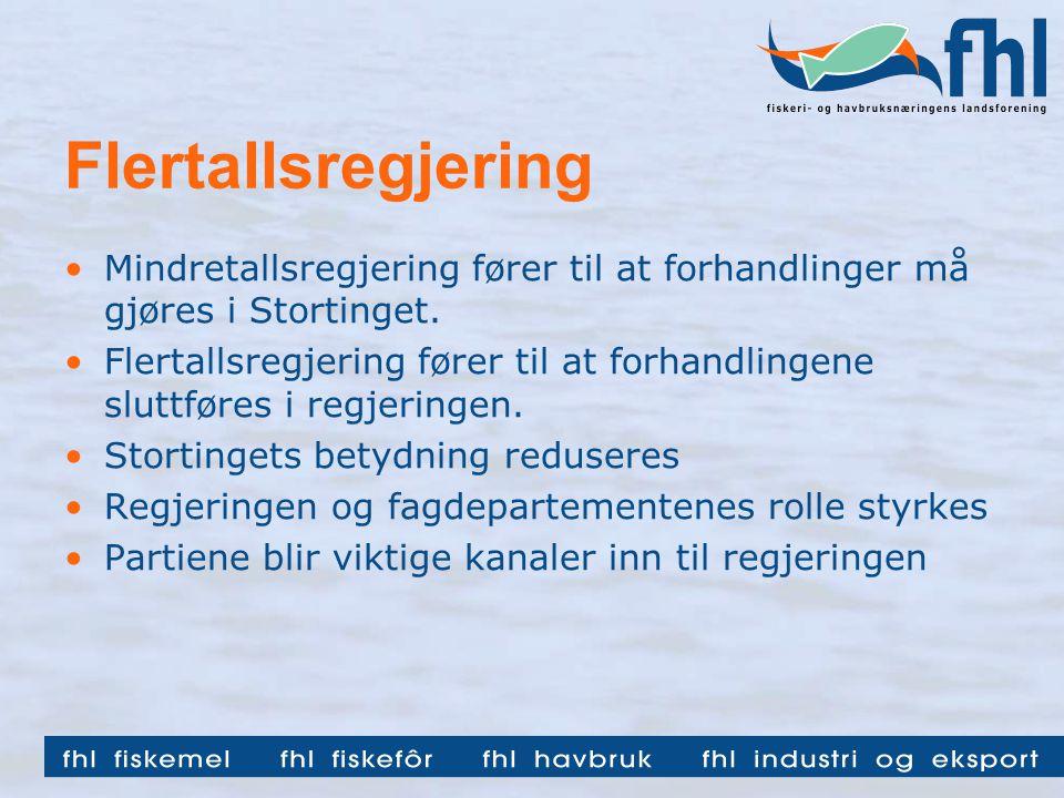 Flertallsregjering •Mindretallsregjering fører til at forhandlinger må gjøres i Stortinget.