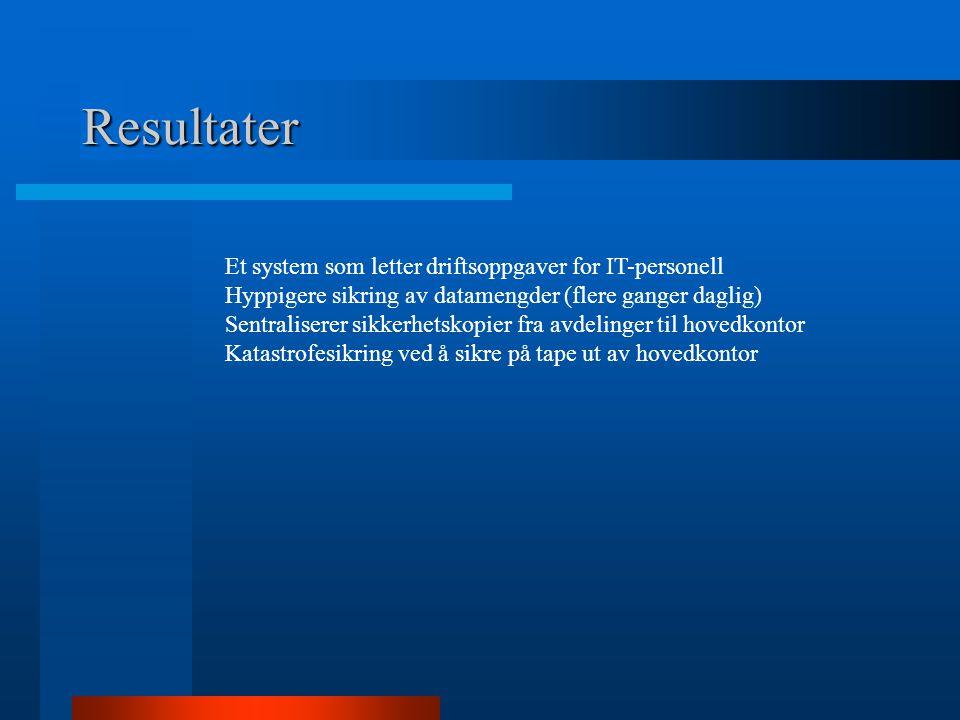 Resultater Et system som letter driftsoppgaver for IT-personell Hyppigere sikring av datamengder (flere ganger daglig) Sentraliserer sikkerhetskopier fra avdelinger til hovedkontor Katastrofesikring ved å sikre på tape ut av hovedkontor