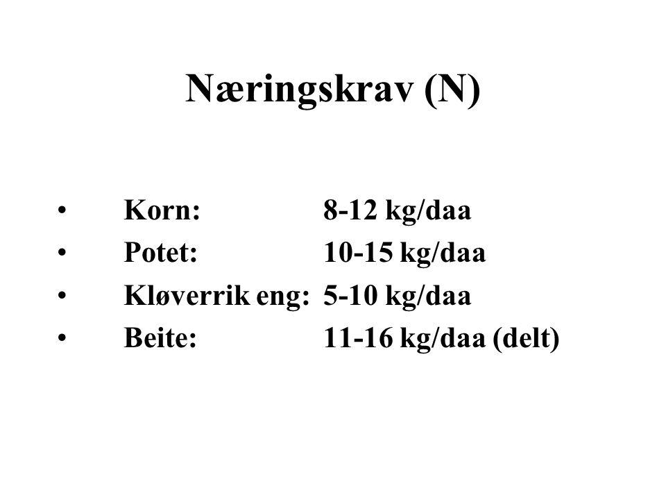 Næringskrav (N) •Korn: 8-12 kg/daa •Potet: 10-15 kg/daa •Kløverrik eng: 5-10 kg/daa •Beite: 11-16 kg/daa (delt)