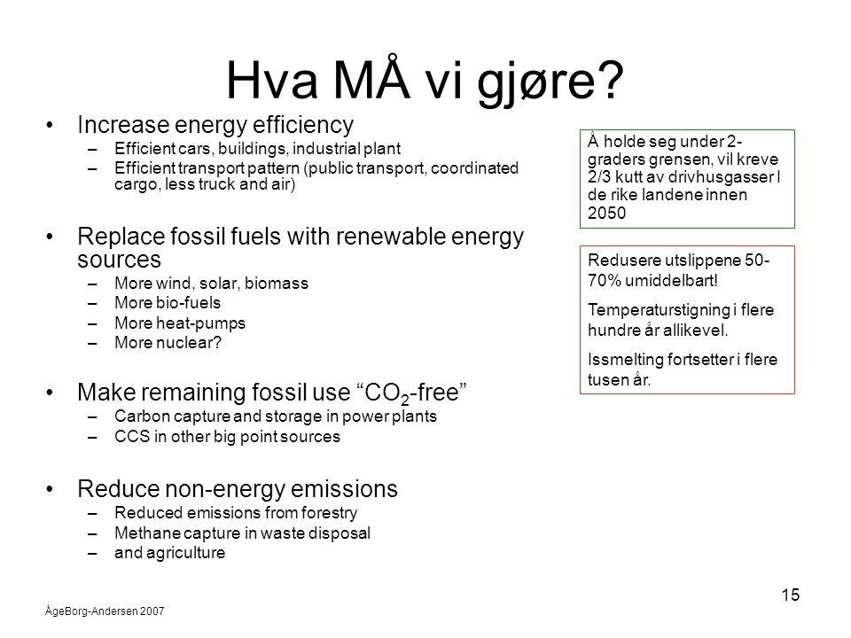 ÅgeBorg-Andersen 2007 15 Hva MÅ vi gjøre? •Increase energy efficiency –Efficient cars, buildings, industrial plant –Efficient transport pattern (publi