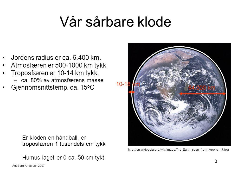 ÅgeBorg-Andersen 2007 3 Vår sårbare klode •Jordens radius er ca. 6.400 km. •Atmosfæren er 500-1000 km tykk •Troposfæren er 10-14 km tykk. –ca. 80% av
