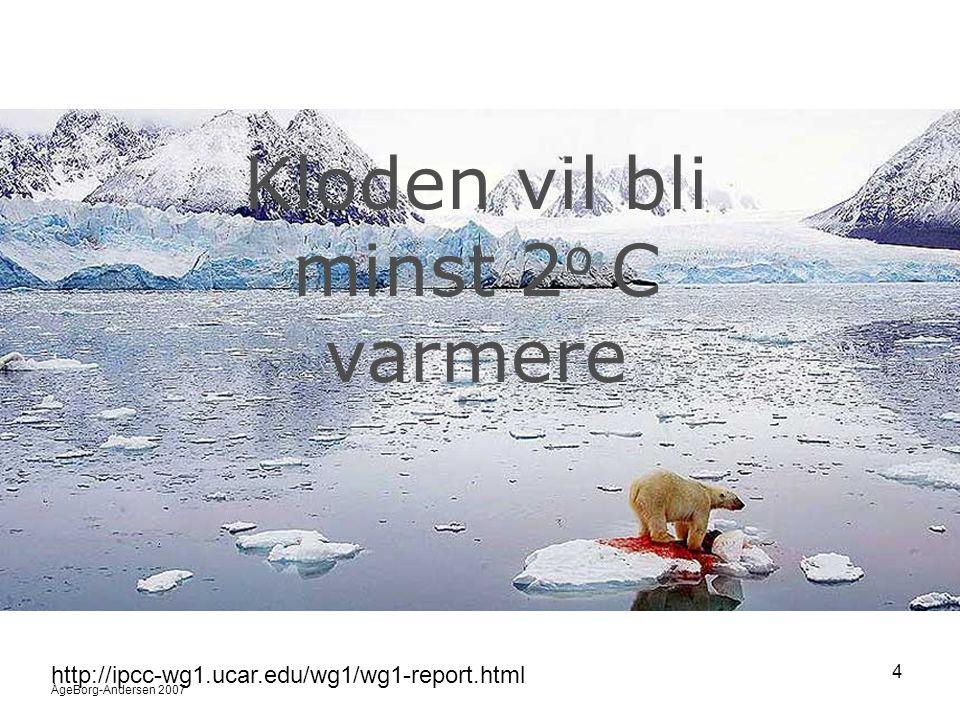 ÅgeBorg-Andersen 2007 5 http://www.cotf.edu/ete/modules/climate/GCremote3.html Global temperatur og CO 2 Dagens nivå er det høyeste på 450 000 år.