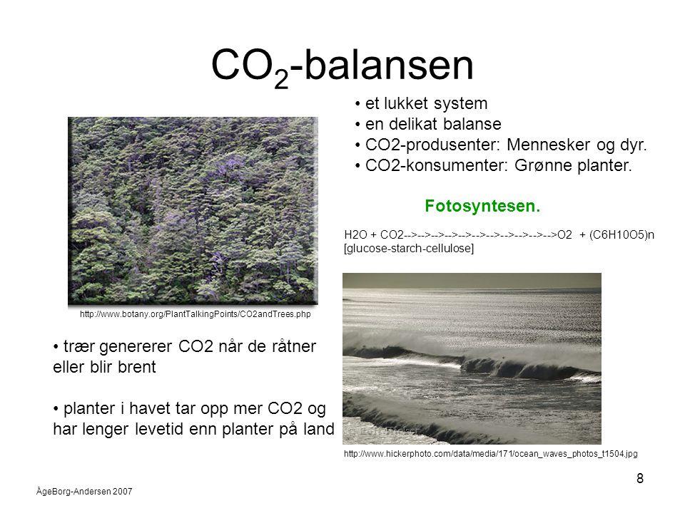 ÅgeBorg-Andersen 2007 9 Temperatur/varmebalansen 1 •Ujevn soloppvarming skaper behov for varmeutveksling •Varmeutveksling på kloden skjer hovedsakelig ved transport av luft og vann.
