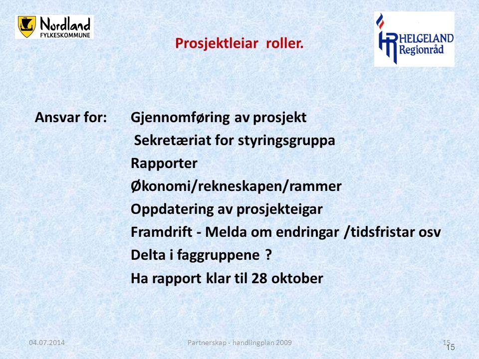 Ansvar for: Gjennomføring av prosjekt Sekretæriat for styringsgruppa Rapporter Økonomi/rekneskapen/rammer Oppdatering av prosjekteigar Framdrift - Mel