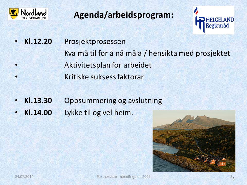 • Kl.12.20Prosjektprosessen Kva må til for å nå måla / hensikta med prosjektet • Aktivitetsplan for arbeidet • Kritiske suksess faktorar • Kl.13.30Opp