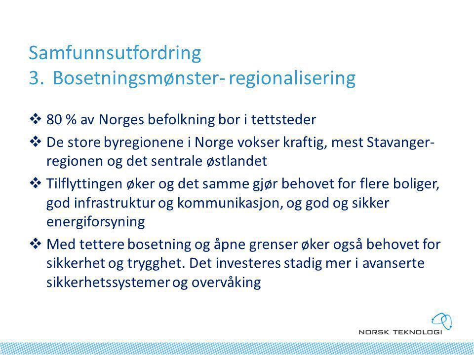 Samfunnsutfordring 3.Bosetningsmønster- regionalisering  80 % av Norges befolkning bor i tettsteder  De store byregionene i Norge vokser kraftig, mest Stavanger- regionen og det sentrale østlandet  Tilflyttingen øker og det samme gjør behovet for flere boliger, god infrastruktur og kommunikasjon, og god og sikker energiforsyning  Med tettere bosetning og åpne grenser øker også behovet for sikkerhet og trygghet.