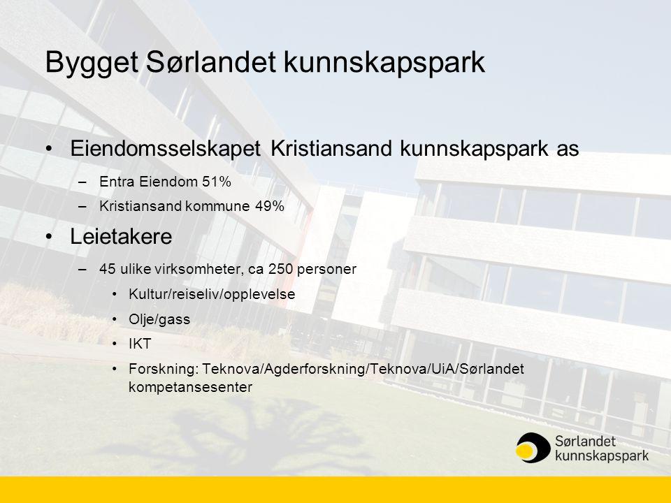 Bygget Sørlandet kunnskapspark •Eiendomsselskapet Kristiansand kunnskapspark as –Entra Eiendom 51% –Kristiansand kommune 49% •Leietakere –45 ulike vir
