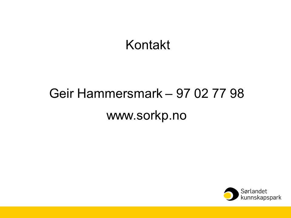 Kontakt Geir Hammersmark – 97 02 77 98 www.sorkp.no
