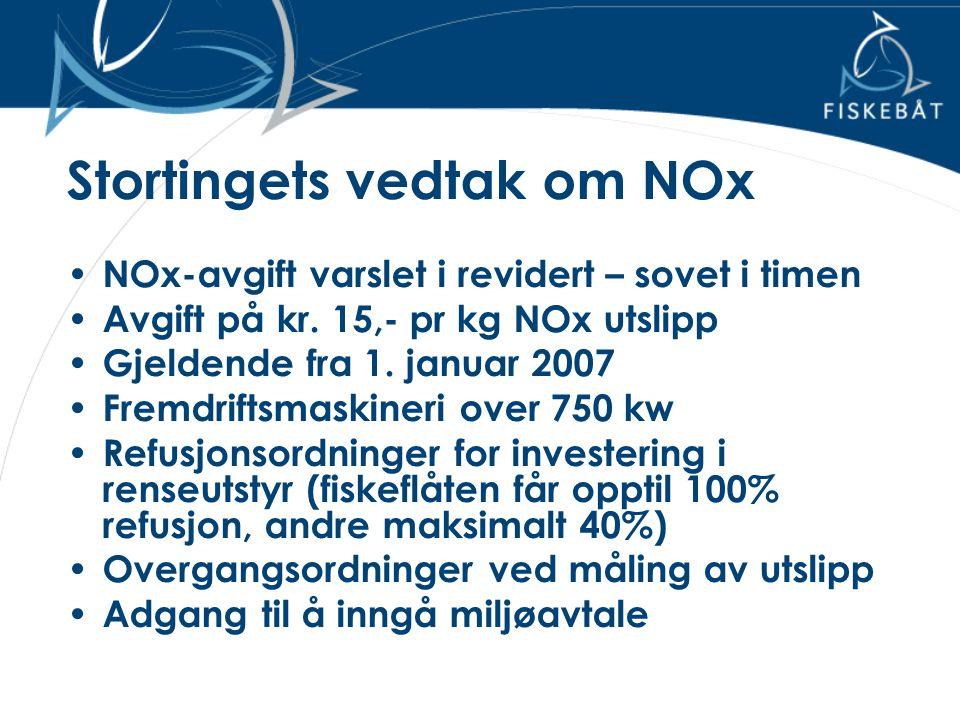 Stortingets vedtak om NOx • NOx-avgift varslet i revidert – sovet i timen • Avgift på kr. 15,- pr kg NOx utslipp • Gjeldende fra 1. januar 2007 • Frem