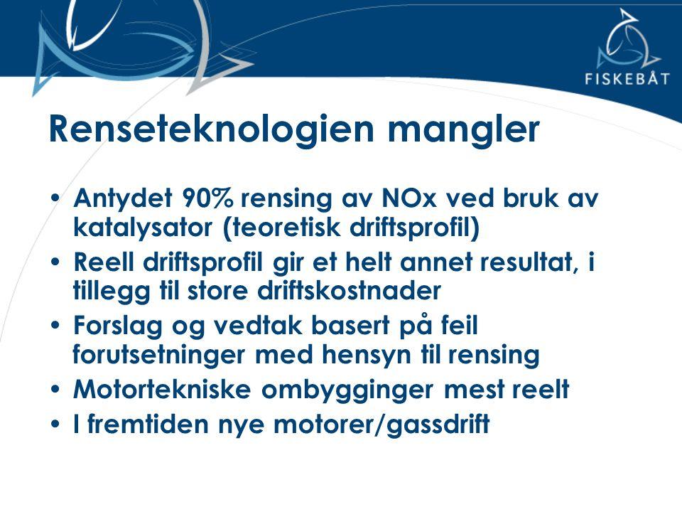 Renseteknologien mangler • Antydet 90% rensing av NOx ved bruk av katalysator (teoretisk driftsprofil) • Reell driftsprofil gir et helt annet resultat