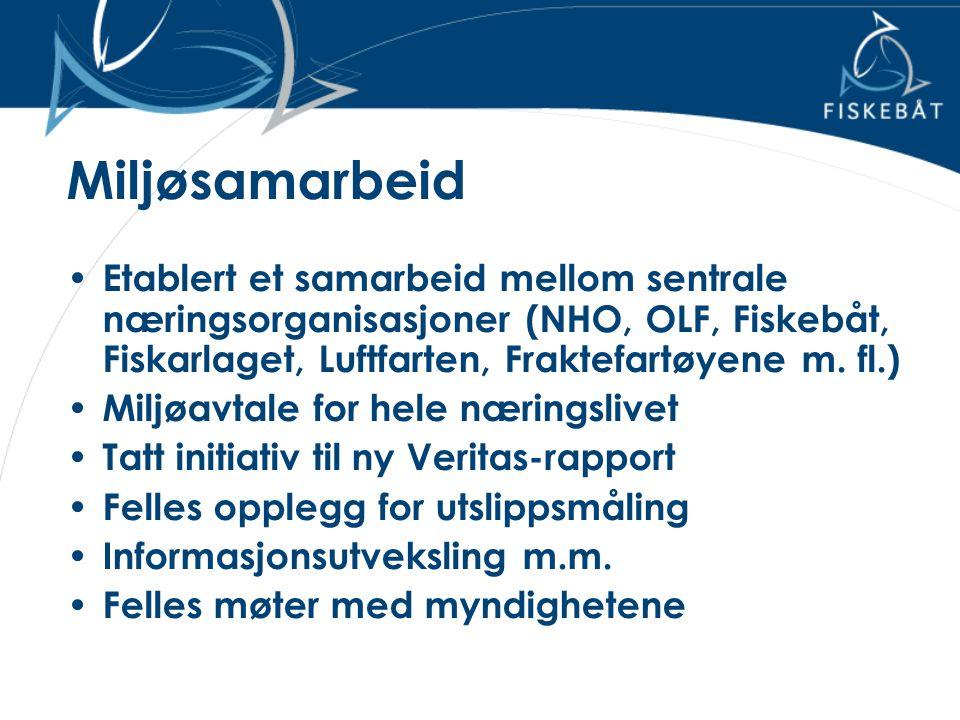 Miljøsamarbeid • Etablert et samarbeid mellom sentrale næringsorganisasjoner (NHO, OLF, Fiskebåt, Fiskarlaget, Luftfarten, Fraktefartøyene m. fl.) • M
