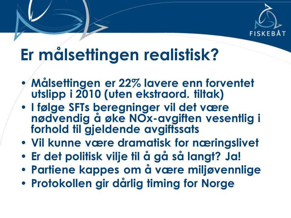 Er målsettingen realistisk? • Målsettingen er 22% lavere enn forventet utslipp i 2010 (uten ekstraord. tiltak) • I følge SFTs beregninger vil det være