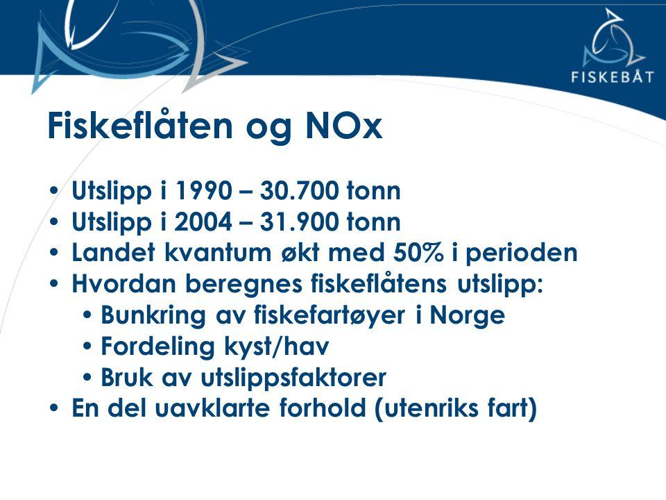 Fiskeflåten og NOx • Utslipp i 1990 – 30.700 tonn • Utslipp i 2004 – 31.900 tonn • Landet kvantum økt med 50% i perioden • Hvordan beregnes fiskeflåte
