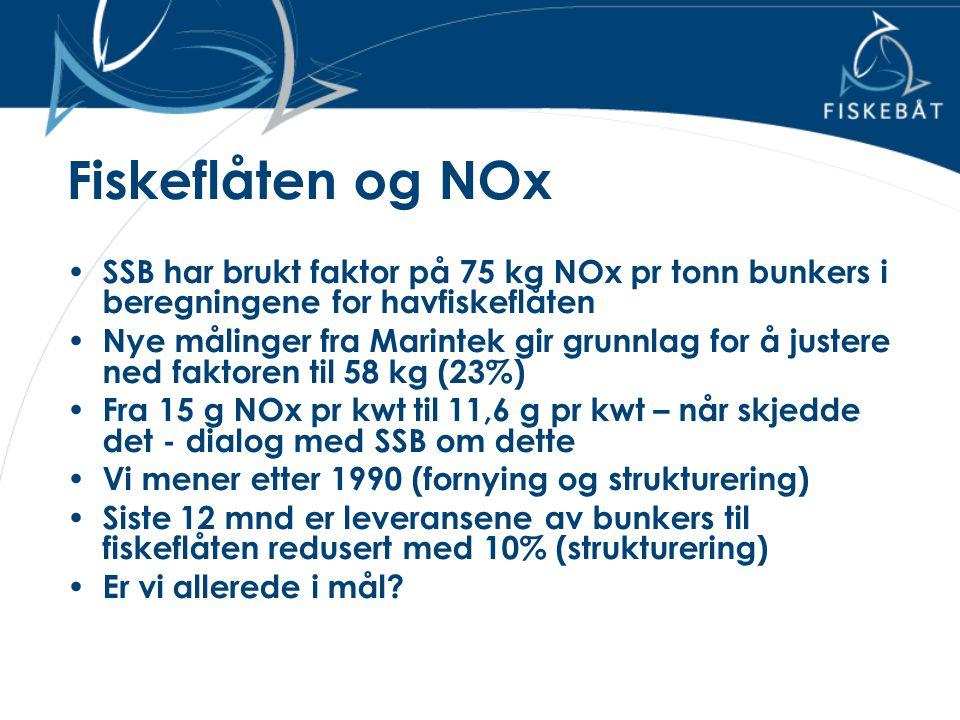 Fiskeflåten og NOx • SSB har brukt faktor på 75 kg NOx pr tonn bunkers i beregningene for havfiskeflåten • Nye målinger fra Marintek gir grunnlag for