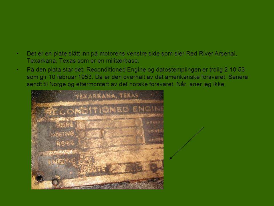 Motor •Ut i fra støpenummeret på blokka: 3-30 641087 L – W 4 AN1-CR-N2, fant jeg ut at den trolig er produsert 30.