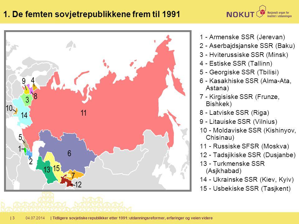 04.07.2014| Tidligere sovjetiske republikker etter 1991: utdanningsreformer, erfaringer og veien videre| 3 1 - Armenske SSR (Jerevan) 2 - Aserbajdsjanske SSR (Baku) 3 - Hviterussiske SSR (Minsk) 4 - Estiske SSR (Tallinn) 5 - Georgiske SSR (Tbilisi) 6 - Kasakhiske SSR (Alma-Ata, Astana) 7 - Kirgisiske SSR (Frunze, Bishkek) 8 - Latviske SSR (Riga) 9 - Litauiske SSR (Vilnius) 10 - Moldaviske SSR (Kishinyov, Chisinau) 11 - Russiske SFSR (Moskva) 12 - Tadsjikiske SSR (Dusjanbe) 13 - Turkmenske SSR (Asjkhabad) 14 - Ukrainske SSR (Kiev, Kyiv) 15 - Usbekiske SSR (Tasjkent) 1.