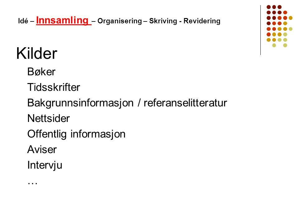 Kilder Bøker Tidsskrifter Bakgrunnsinformasjon / referanselitteratur Nettsider Offentlig informasjon Aviser Intervju … Idé – Innsamling – Organisering