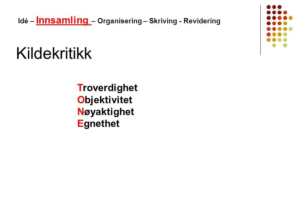Kildekritikk Idé – Innsamling – Organisering – Skriving - Revidering Troverdighet Objektivitet Nøyaktighet Egnethet