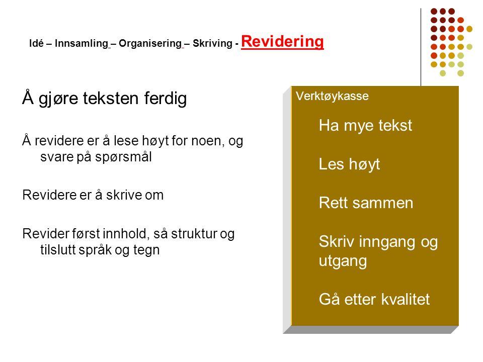 Idé – Innsamling – Organisering – Skriving - Revidering Å gjøre teksten ferdig Å revidere er å lese høyt for noen, og svare på spørsmål Revidere er å
