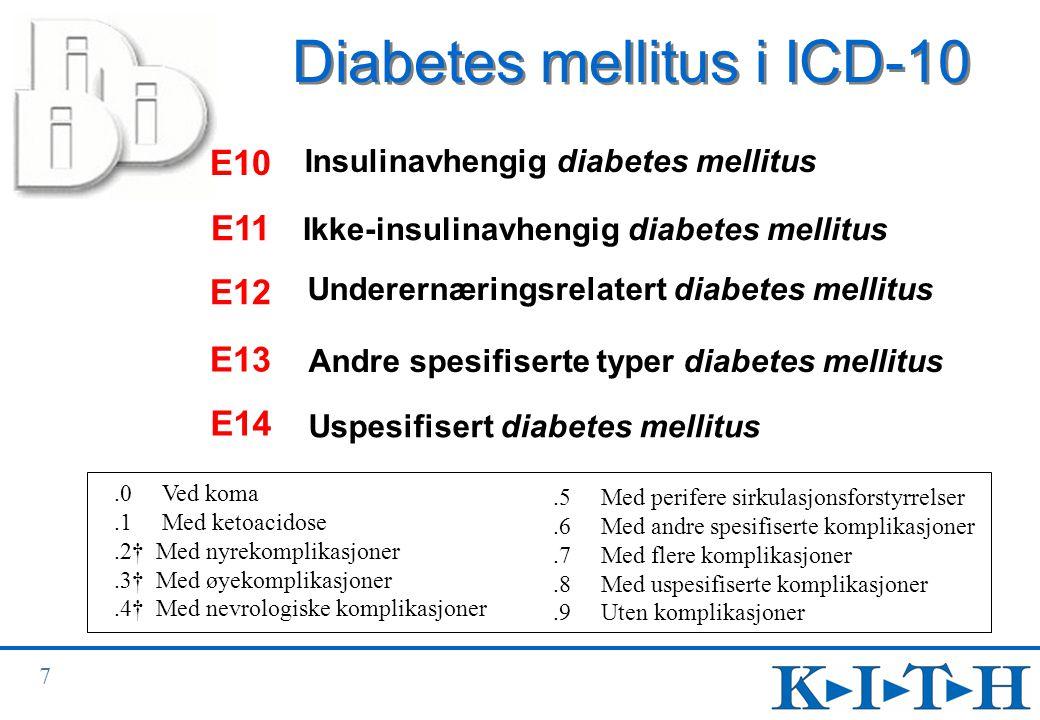 8 Eksempler på anbefalt tilleggskoding i ICD-10 Dobbelkoding:  etiologi og manifestasjon (sverd og stjerne)  skade og skadeårsak/skademekanisme (f eks beskrivelse av komplikasjoner ved behandling)  bivirkning av medikament: oppgi i tillegg til bivirkningen ATC-kode for medikamentet  ulykke og ytre årsak  svulst og morfologi ICD-10 tilrår ofte multippel koding
