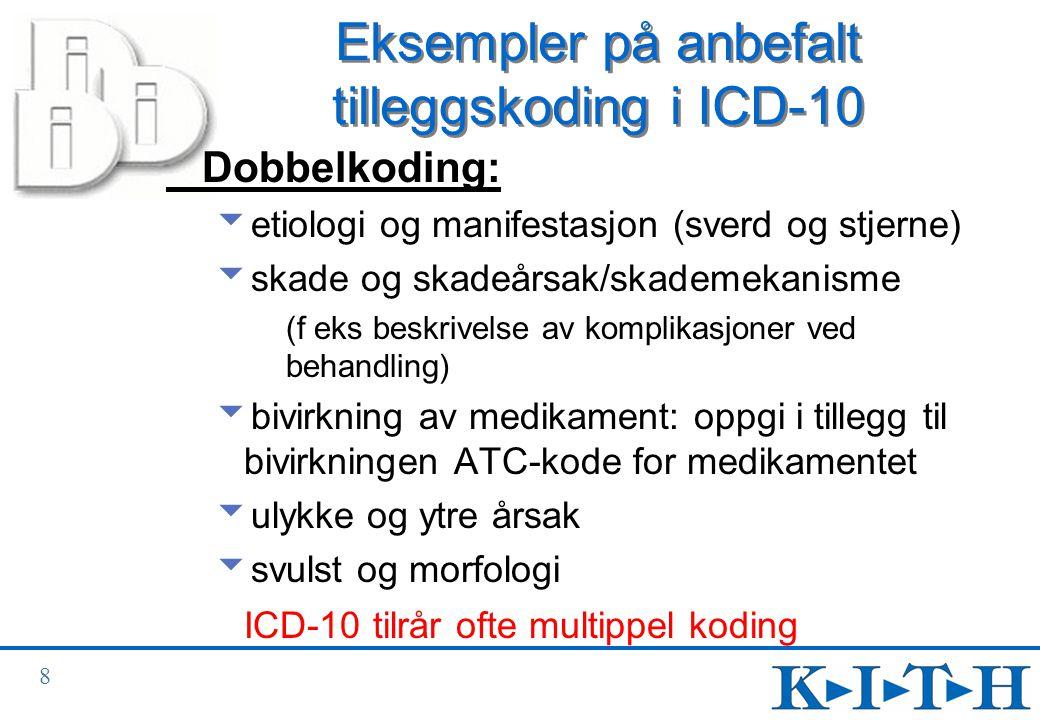 9 Sverd- og stjernekoder (1) (Opplæringsheftet 2.2.10)  Systemet med sverd- og stjernekoder ble innført med ICD-9.