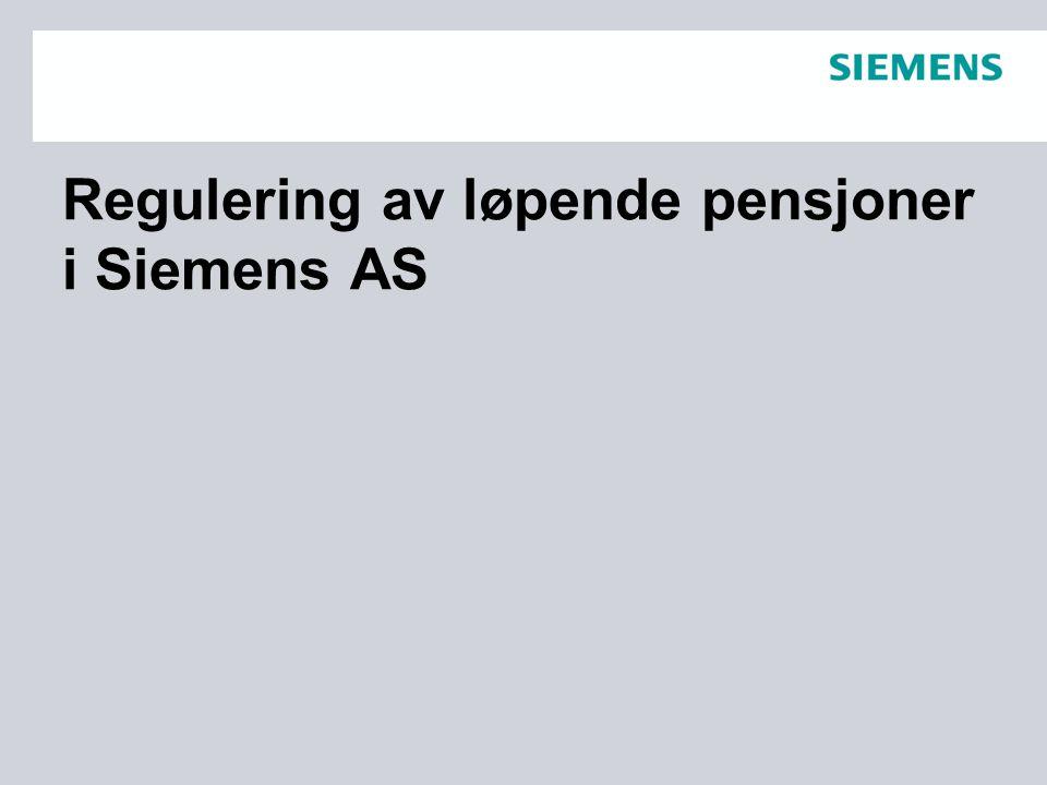Regulering av løpende pensjoner i Siemens AS