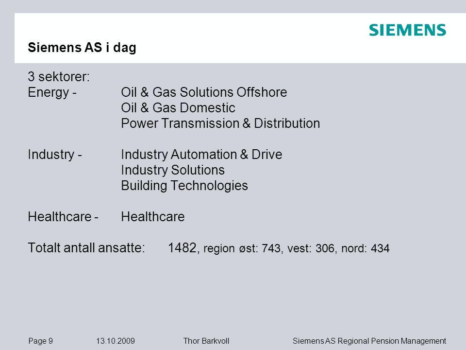 Page 9 13.10.2009 Siemens AS Regional Pension ManagementThor Barkvoll Siemens AS i dag 3 sektorer: Energy - Oil & Gas Solutions Offshore Oil & Gas Dom