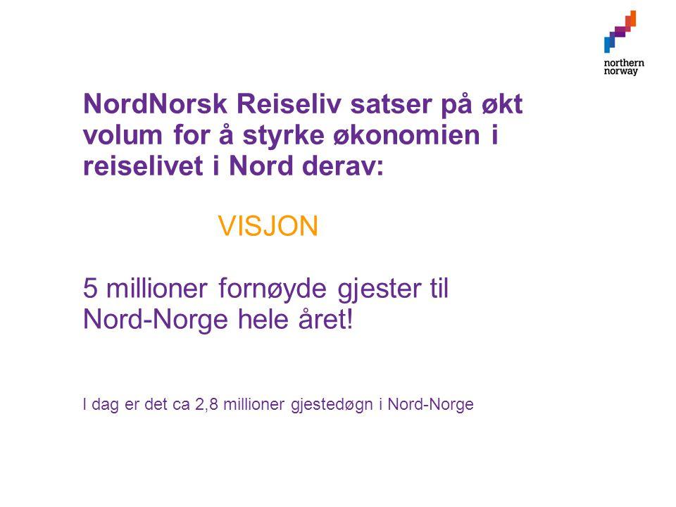NordNorsk Reiseliv satser på økt volum for å styrke økonomien i reiselivet i Nord derav: VISJON 5 millioner fornøyde gjester til Nord-Norge hele året.